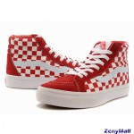 Vans SK8-Hi Classic Checkerboard Red White Womens Shoes
